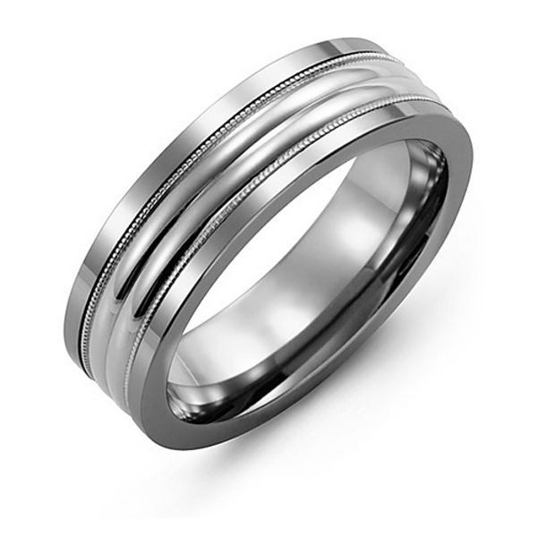 Men's Double Row Inlay Tungsten Band Ring