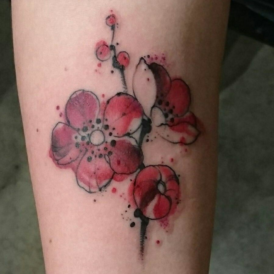 Eindelijk Mijn Eerste Tattoo Watercolour Flowers