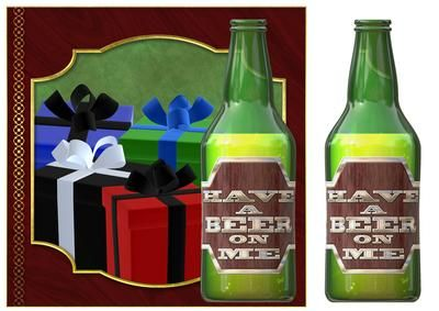 Have A Beer On Me on Craftsuprint designed by John Methven - Beer themed topper with decoupage Text Reads Have a Beer on me - Now available for download!
