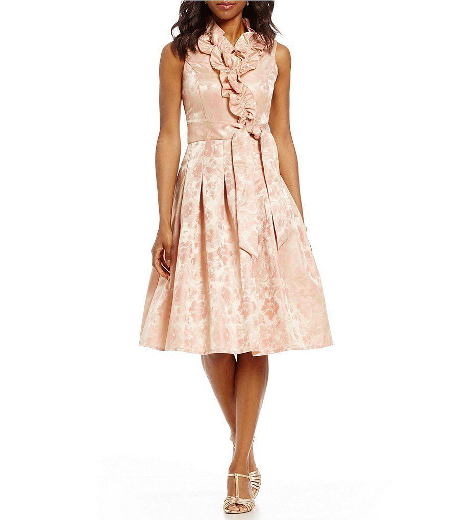 b08c588c219a Jessica Howard Floral Jacquard Ruffle Surplice V-Neck Party Dress ...
