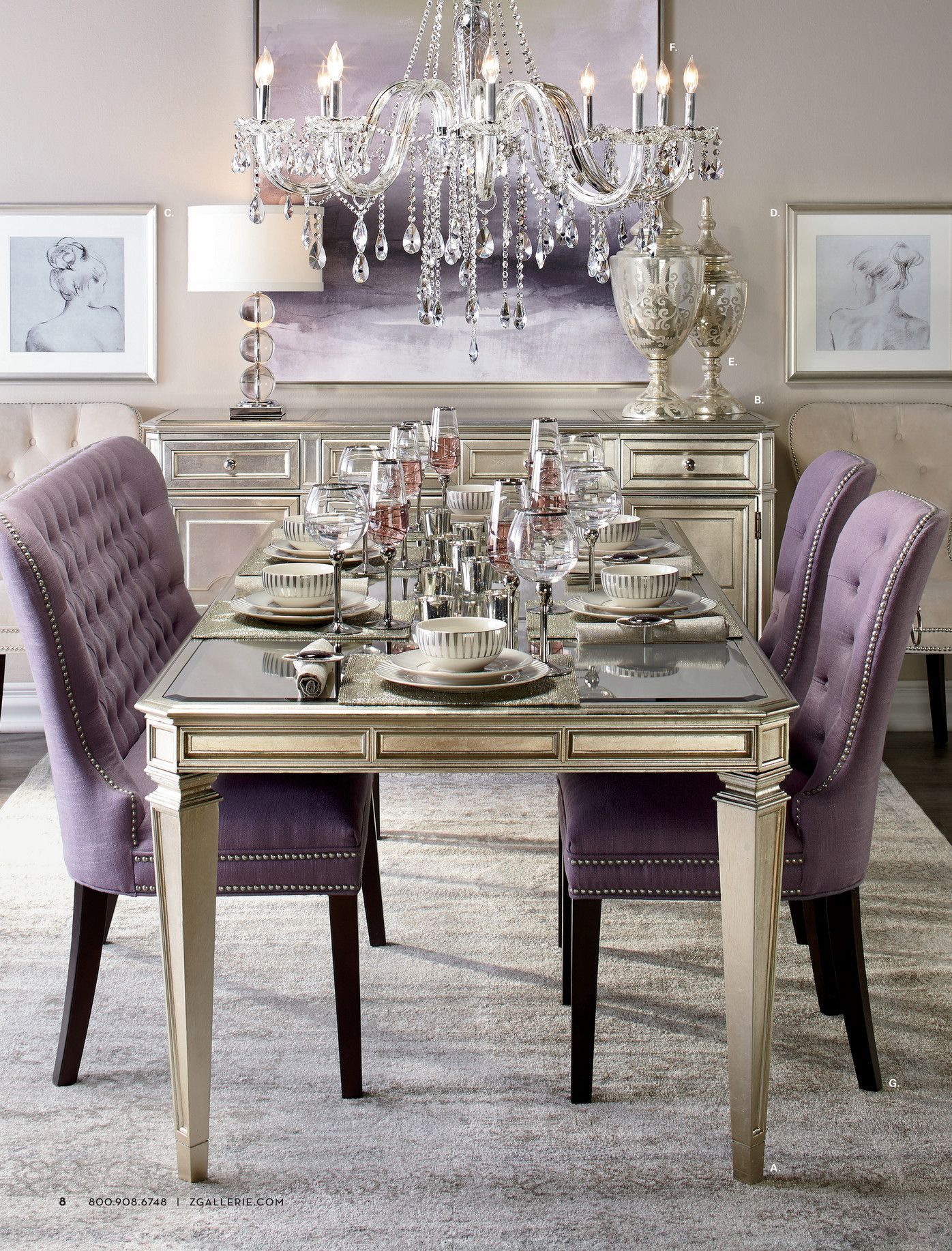 Z Gallerie Celebrate In Style Page 8 9 Purple Dining Room
