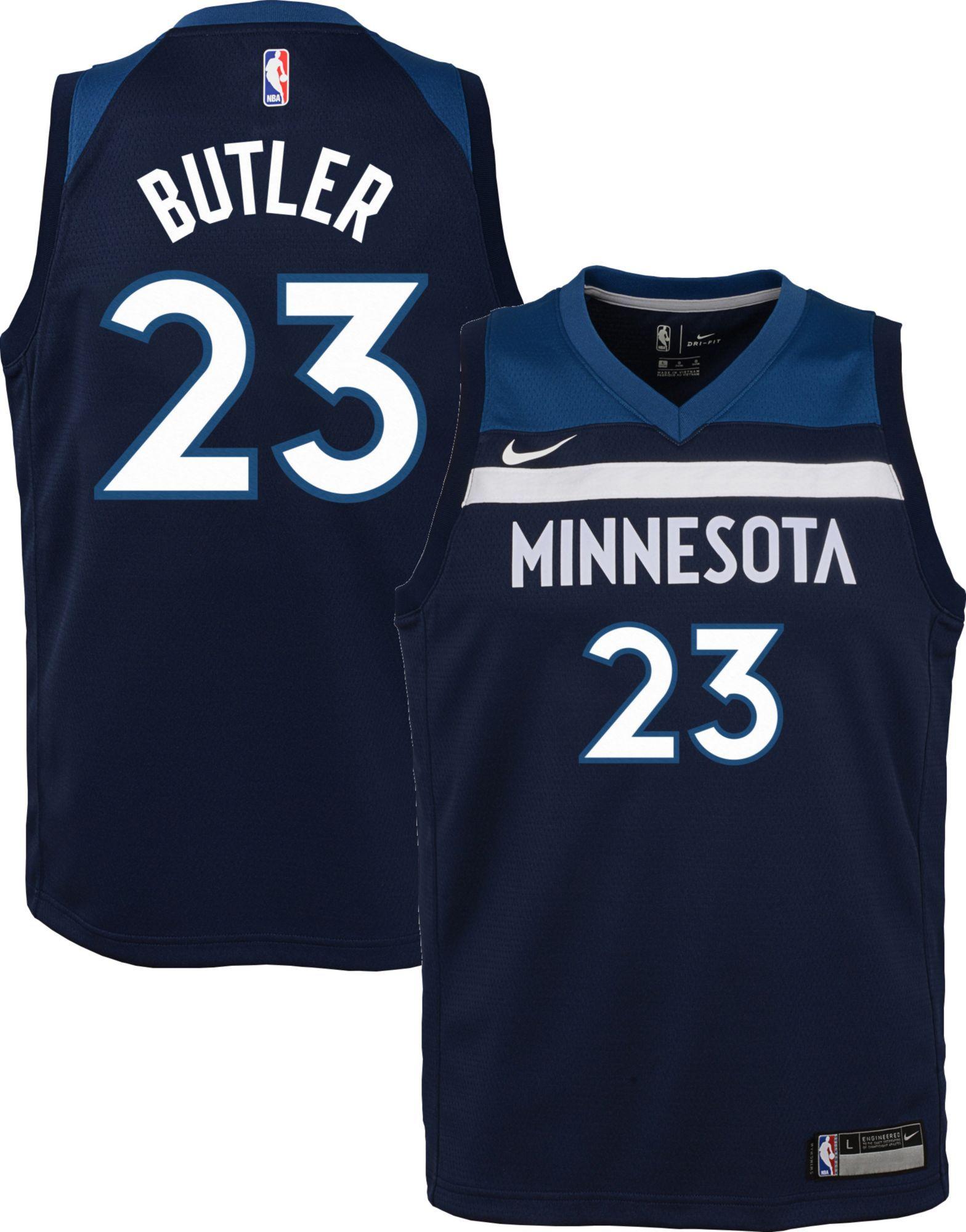 new style a471e f7724 Nike Youth Minnesota Timberwolves Jimmy Butler #23 Navy Dri ...