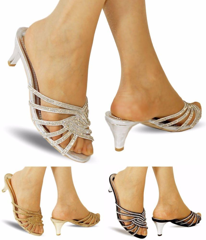 4cf6c17e7caba2 Ladies Party Diamante Ankle Straps Low Kitten Heel Shoes Sandal Plus Sizes-A  215