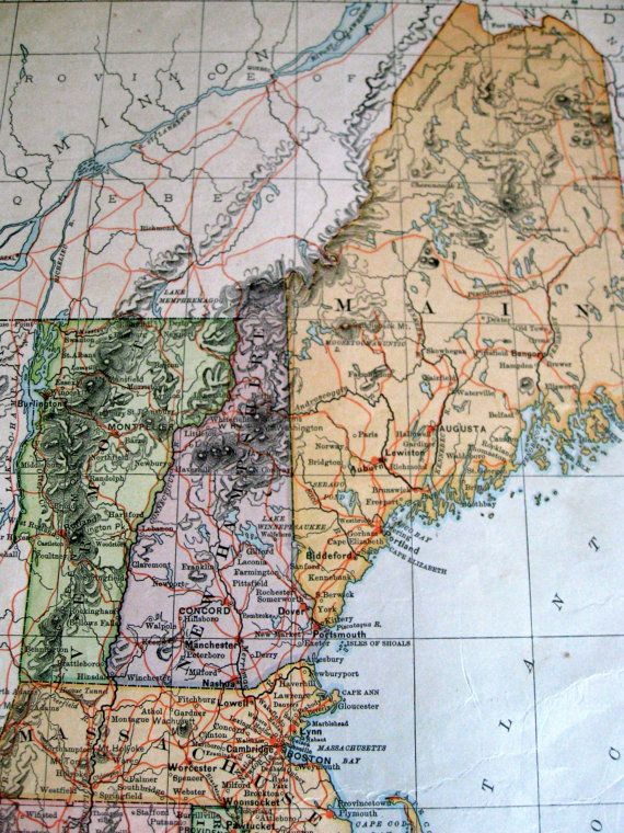 Antique New England Map Old Maps Of US Antique By Vinphemera - 1896 map of us