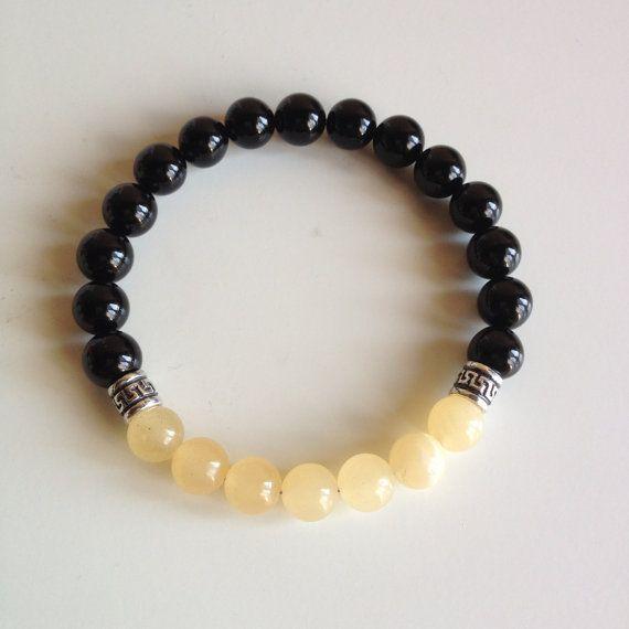 Personal Power - Men's Genuine Sterling Silver Yellow Calcite & Black Onyx Bracelet - Positive Energy