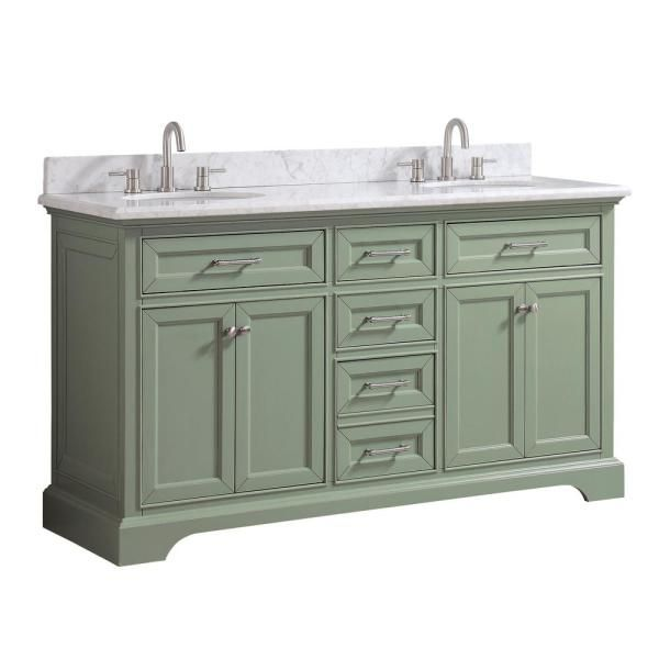 Home Decorators Collection Windlowe 61 In W X 22 In D X 35 In H Bath Vanity In Green With Carrera Marble Vanity Top In White With White Sink 15101 Vs61c Sg In 2020