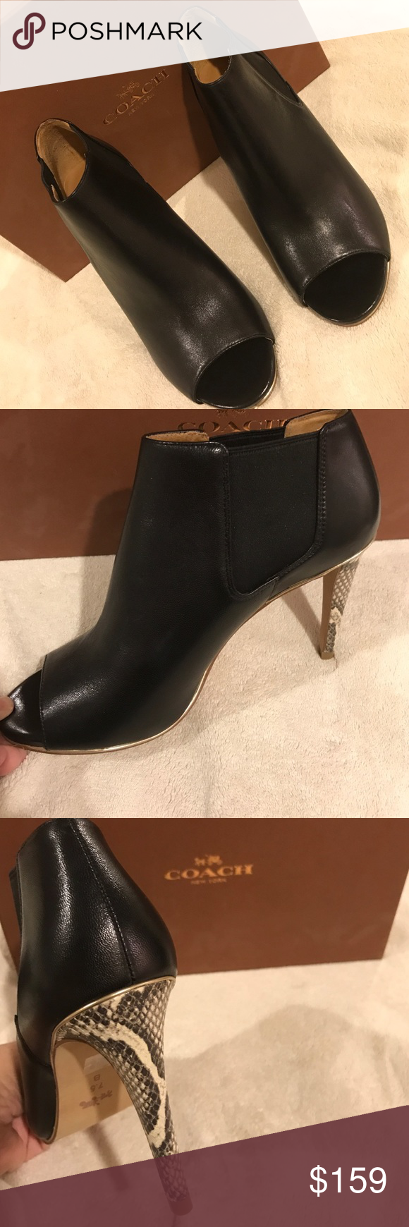 """COACH NIB ADRIANNA ankle bootie This Coach Adrianna ankle bootie is black leather, has a peep-toe and is set on a slim, snake-embossed 4"""" heel. Goes from desk to dance floor with its flirty silhouette and comfy elastic side gores. Coach Shoes Ankle Boots & Booties"""