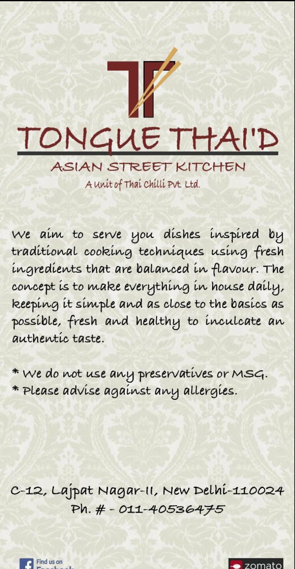 Menu at Tongue Thai\'d India | Order at Tongue Thai\'d | Pinterest | Menu