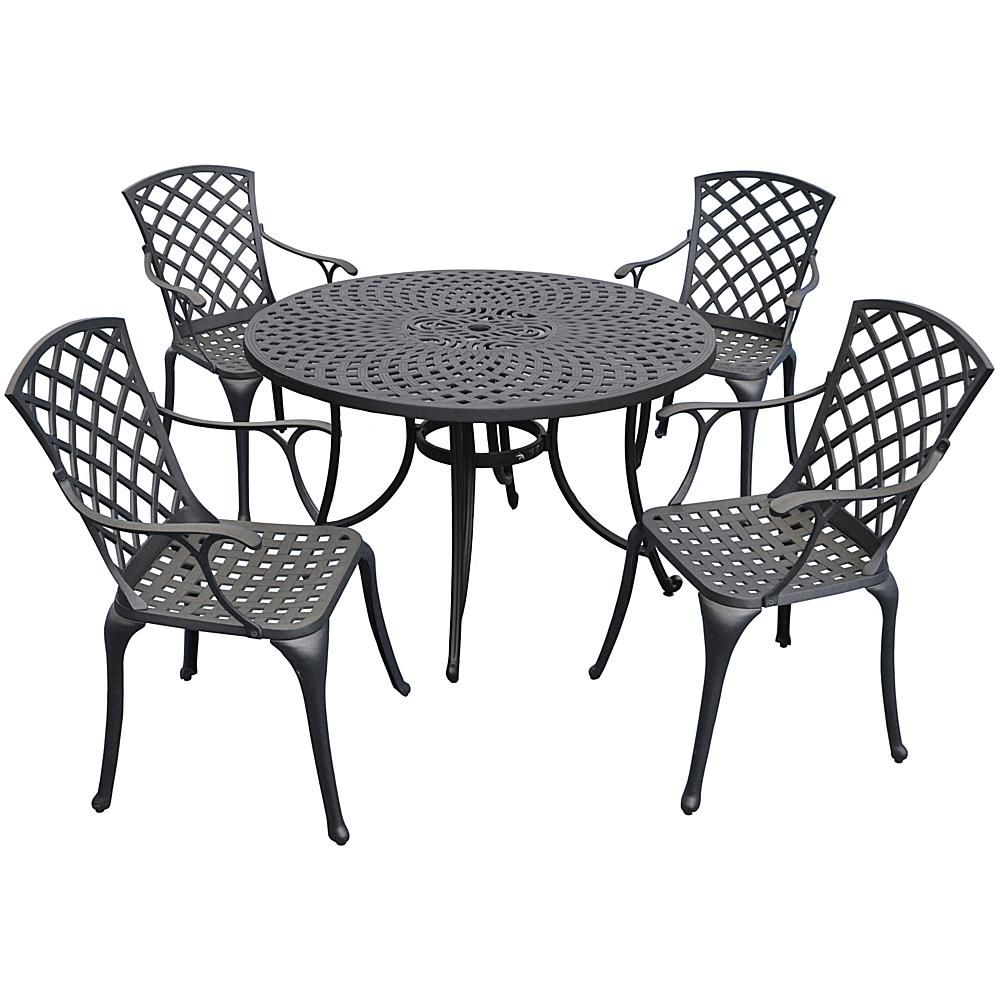 "Crosley Furniture Crosley Sedona 46"" 5-piece Cast Aluminum Outdoor Dining Set - Charcoal Black"