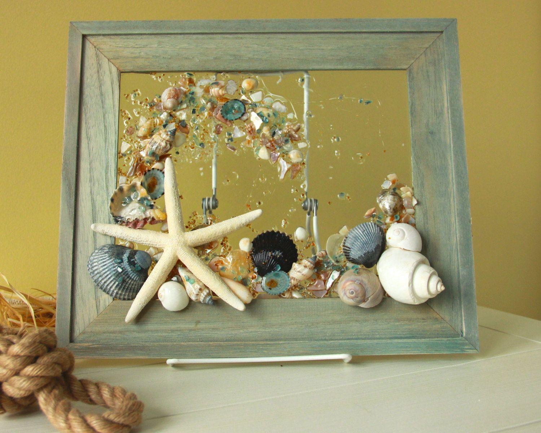 Beach Glass Art for Coastal Decor, Beach Bathroom Wall Hanging ...