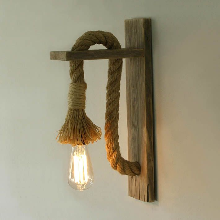 lighting wood. Greek Based TassoStudio Hand Created A Wall Lamp Made Out Of Reclaimed Weathered Wood And Discarded Rope. The Design Shows Great Contrast. Lighting