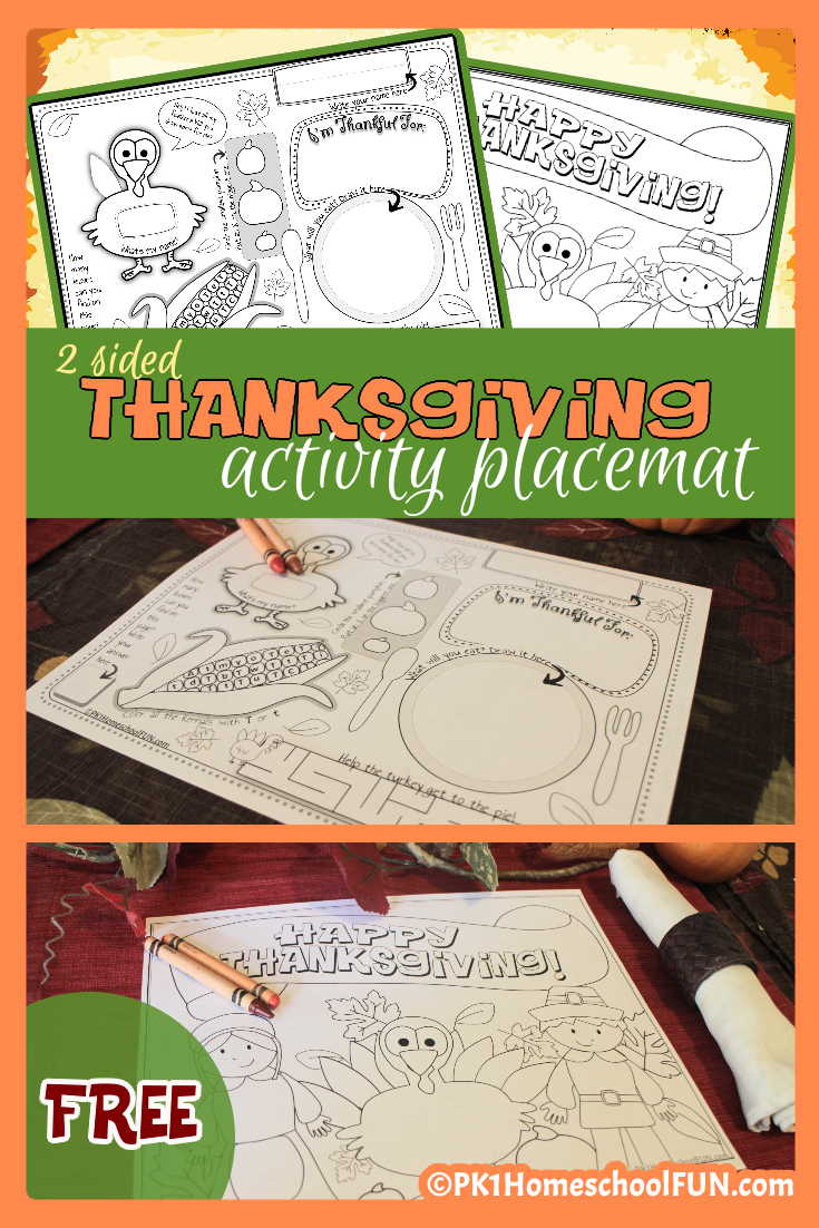 Thanksgiving Activity Placemat & Coloring Page | Thanksgiving, Free ...
