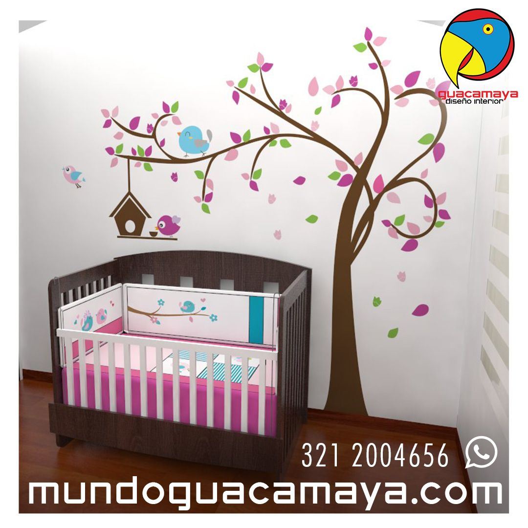 Cunas convertibles en cama semidoble decoraci n arbol - Cuartos para bebes nina ...