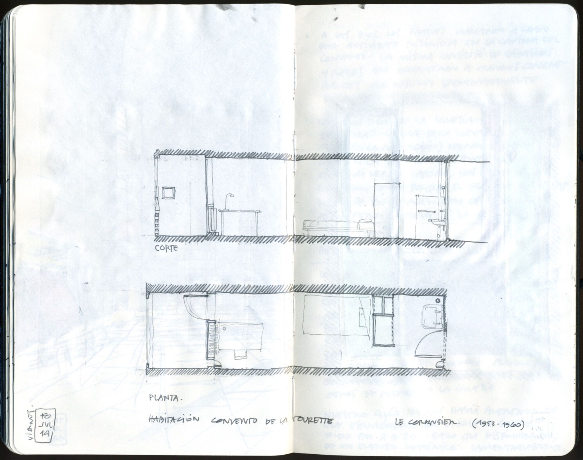 Le Corbusier La Tourrete Sketch Bedroom