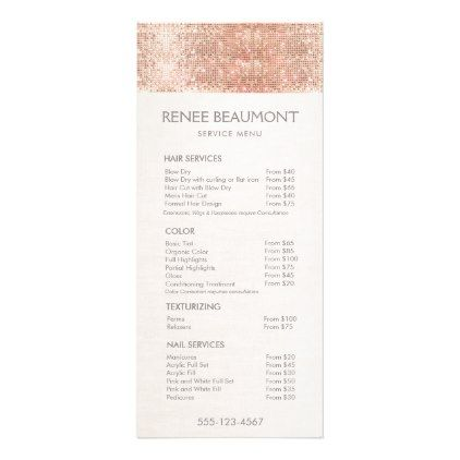 Rose Gold Sequins Salon Price List Menu  By SmBusinessCards