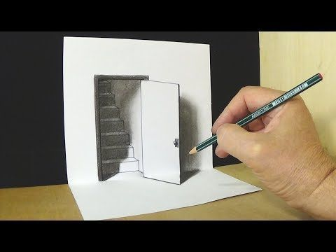 Very Easy How To Draw 3d Hole Stairs For Kids Anamorphic Illusion 3d Trick Art On Paper Youtube 3d Art Drawing Easy 3d Drawing 3d Pencil Drawings