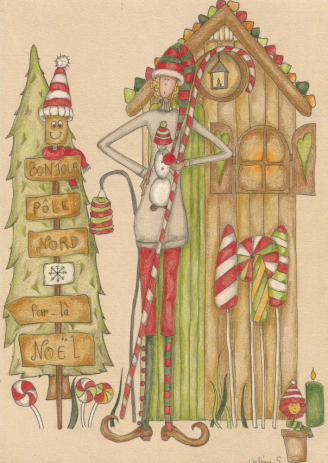 """dessin draw coloriage papier """"paint on"""" Clairedontaine, crayons polychromos Faber-Castell et Prismacolor.  Mrs Pettycoat 18 winter hiver"""