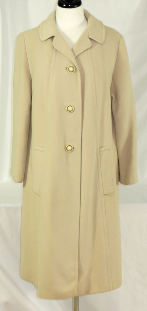 Womens Vintage Coat 100% Cashmere Cream Beige Ivory Solid 8 S ...