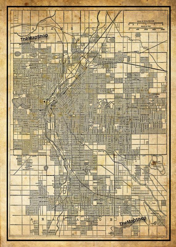 1944 Denver Colorado Street Map Vintage Sepia Grunge Print Poster ...