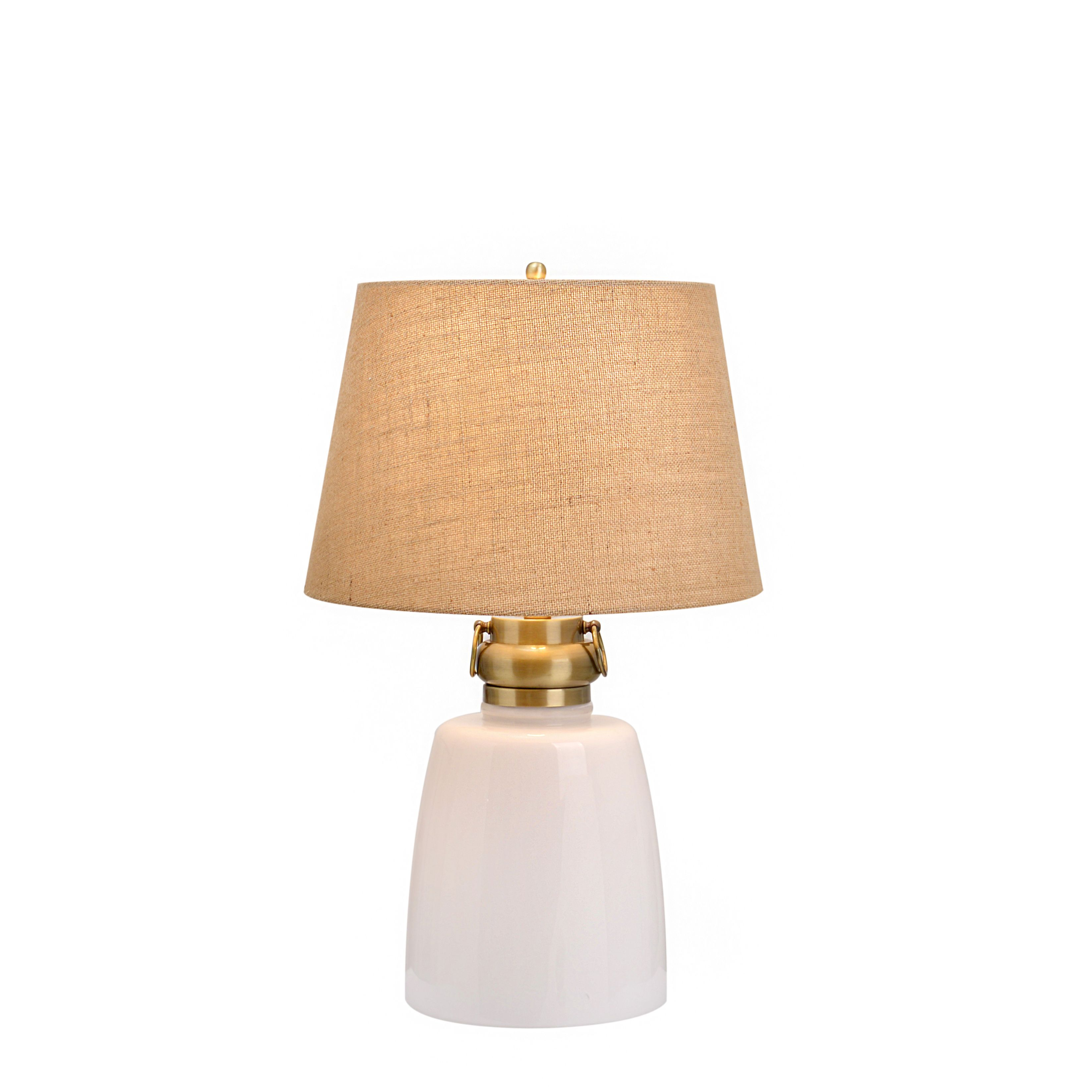 Good Catalina Sarasota 19929 001 4 Way 29 Inch White Milk Glass Table Lamp W  Nightlight, Light Burlap Mod Drum Shade, Bulb Included (Milk White Glass U0026  Antique ... Great Pictures