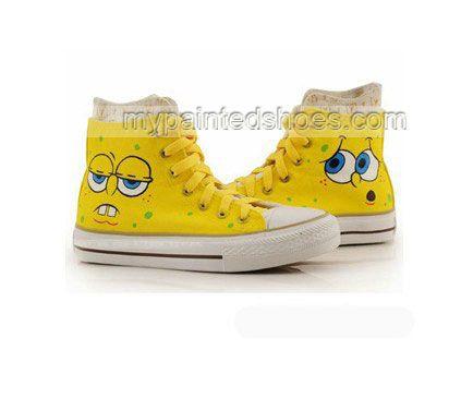 Amadi LOVES Spongebob!!! High Top Hand Drawing SpongeBob