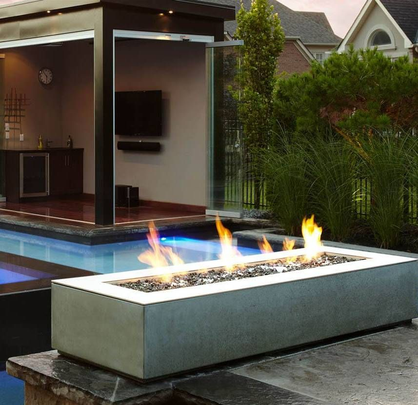 garden and lawn outdoor modern fire pit rectangular modern fire pit outside pinterest. Black Bedroom Furniture Sets. Home Design Ideas
