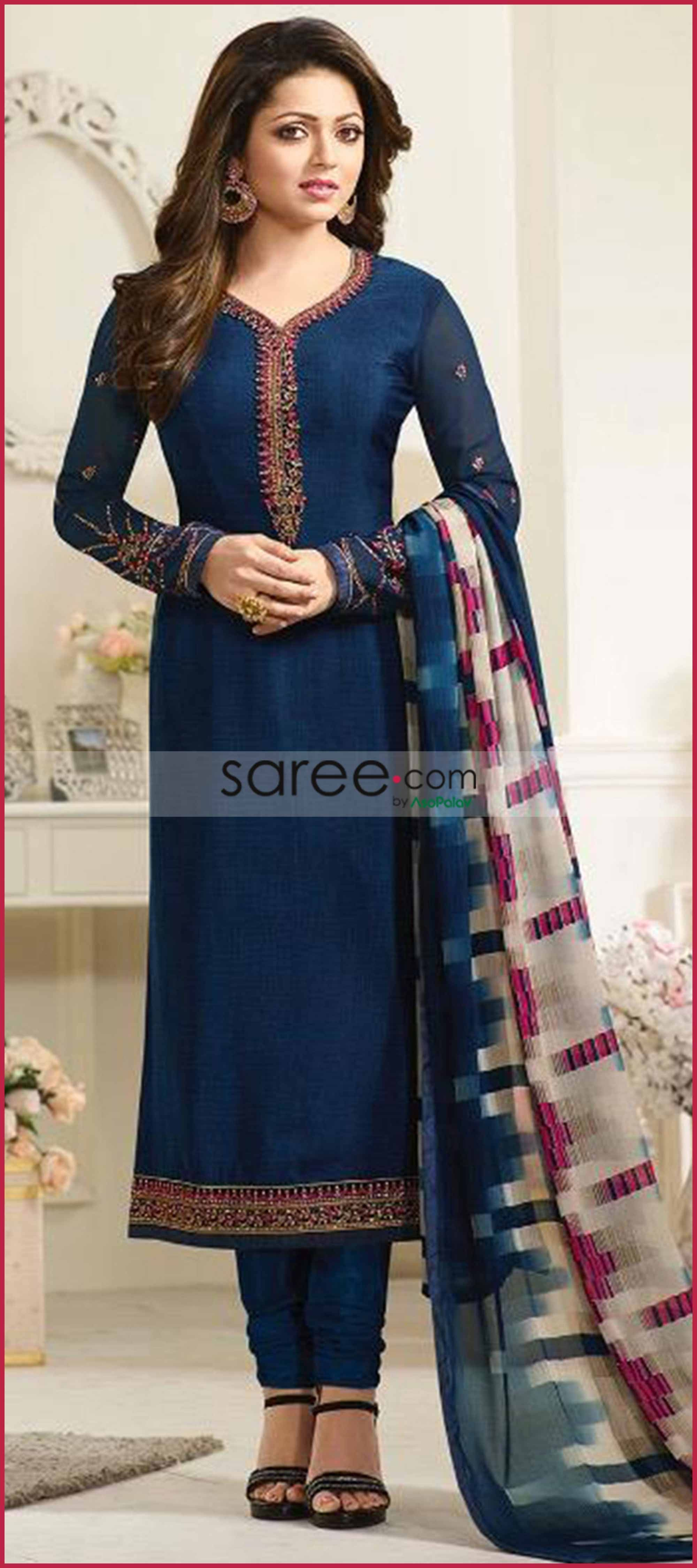 f7be6e4e9a Drashti Dhami Blue Crepe Suit with Embroidery di 2019 | Beauty - B2 ...