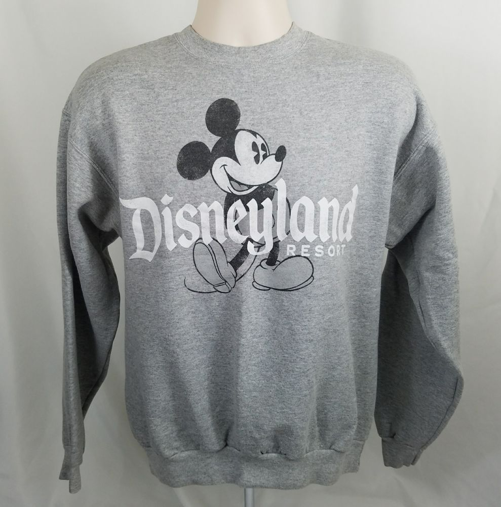 Disney Disneyland Resort Medium Mickey Mouse Pullover Sweatshirt Gray Crew  Neck