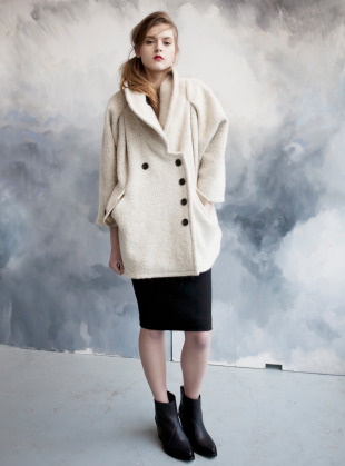 Young British Designers: ESSI Alpaca Wool Coat by Teija Eilola - Sumptuously beautiful coat by TEIJA. Impeccable exaggerated silhouette that befits every day and evening look perfectly.