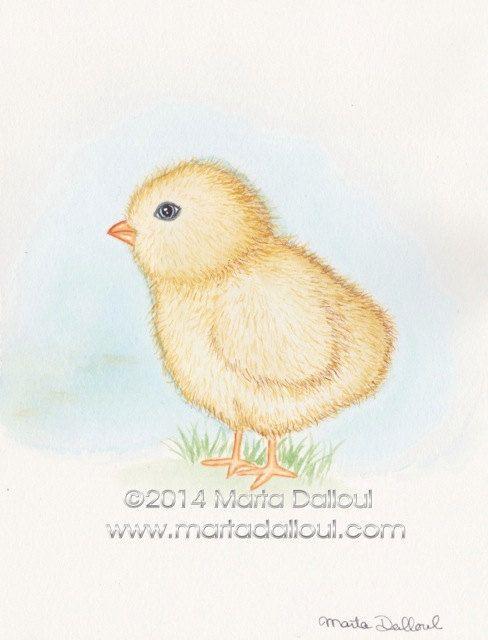 Baby Chick Tattoo : chick, tattoo, Watercolor, Animals