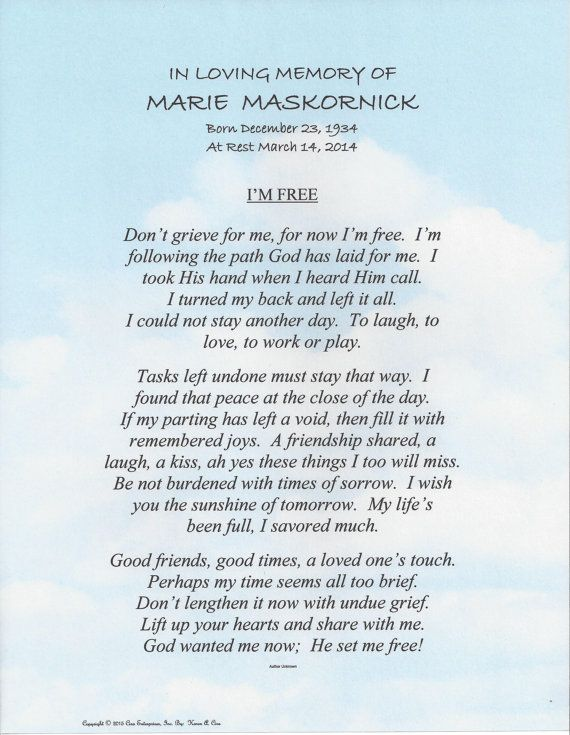 In Loving Memory With Quot I M Free Quot Poem Shown On Quot Clouds