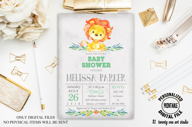 Lion Baby Shower Invitation, Gender Neutral Invitation, Girl, Boy ...