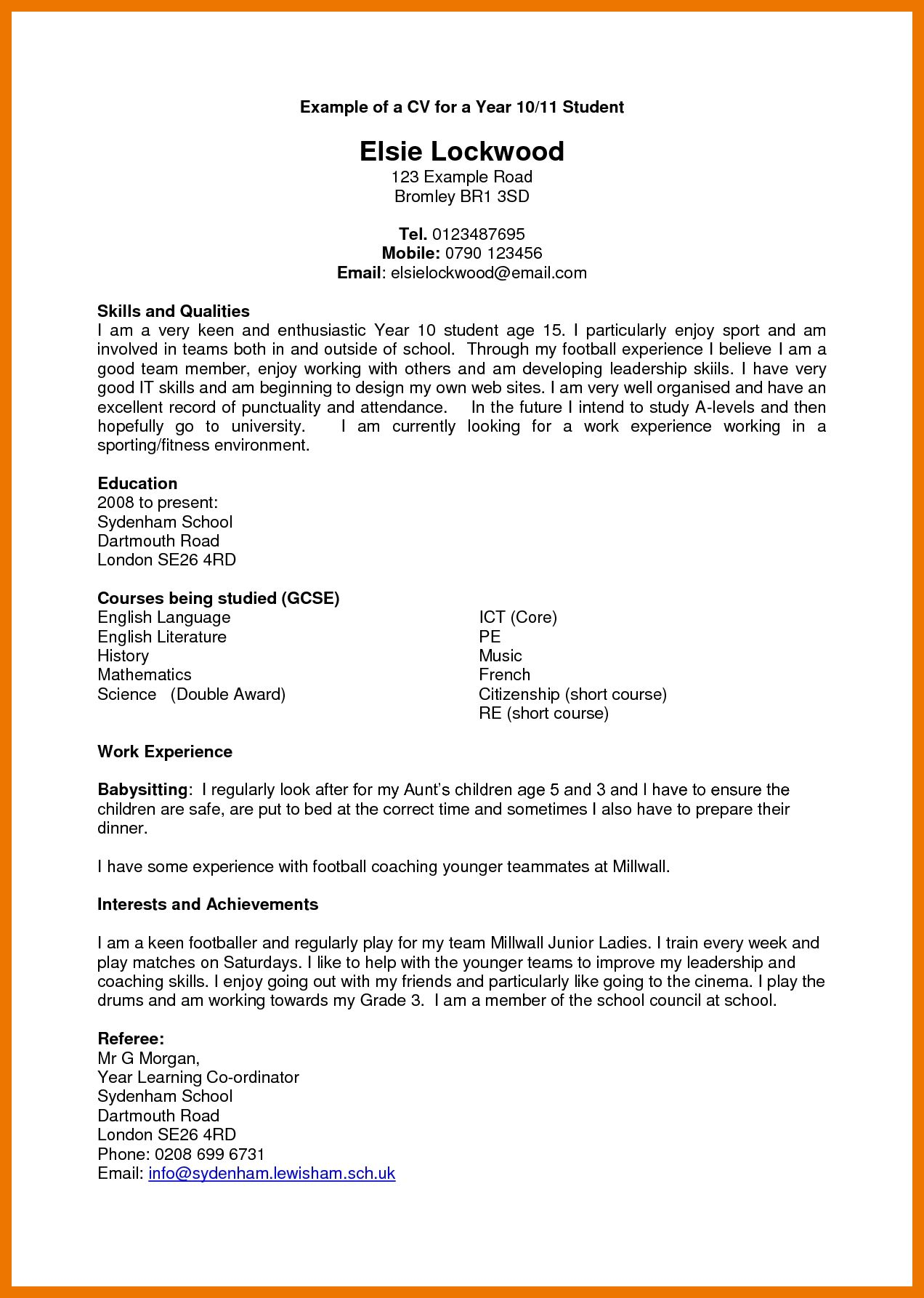 Cv Template Year 11 Cv template, Resume examples, Resume