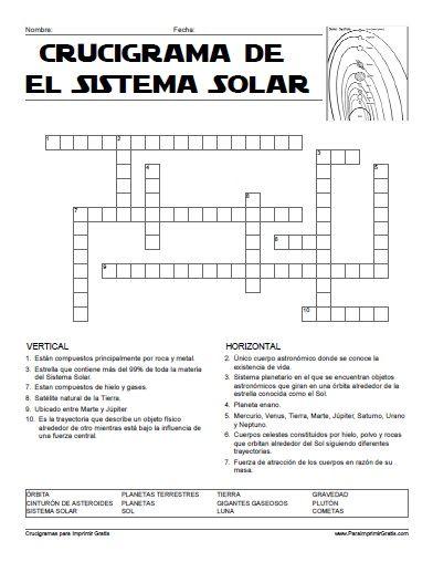 Crucigrama Del Sistema Solar Para Imprimir Gratis Sistema Solar Para Imprimir Sistema Solar Actividades De Geografia