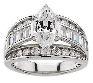 Diamonique 100 Facet 3 50 Cttw Ring Platinum Clad Qvc Com Moissanite Engagement Ring Rose Gold Morganite Engagement Ring Rose Gold Fashion Rings