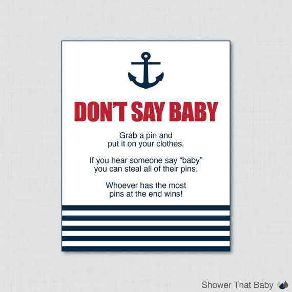 Nautical Donu0027t Say Baby Baby Shower Game Printable   Donu0027t Say Baby Sign  Diaper Pin Clothes Pin Game   Instant Download   Red Navy 0029 R