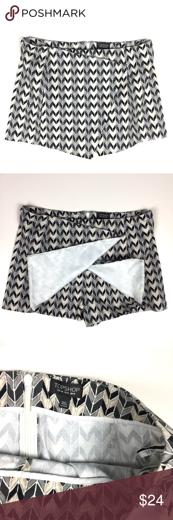 "Topshop Chevron Stripe Skort // 12 Awesome Topshop skirt/shorts skort. All over chevron stripe print. Back zipper. Very good condition. 98% cotton, 2% elastane. Size 12. 14"" long. 18"" waist flat. Topshop Shorts Skorts"