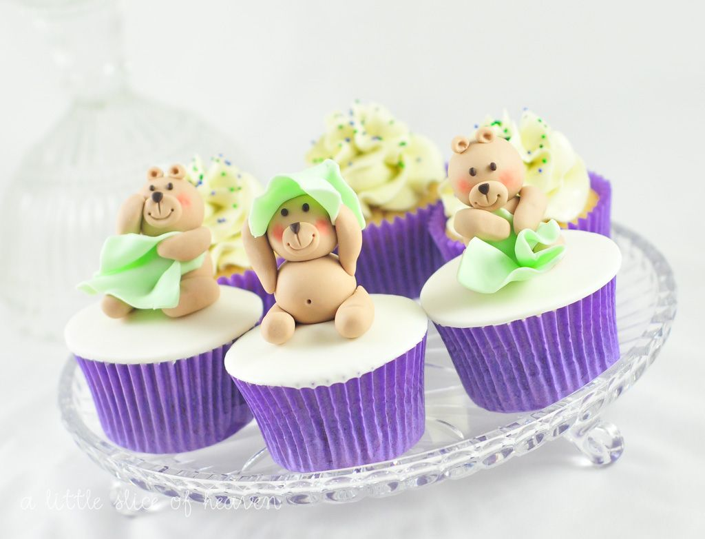 Teddy bear baby shower cupcakes by a little slice of heaven