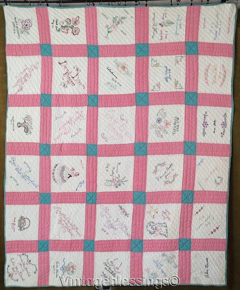 Vintage 1940 Pink Embroidered Signature Friendship Quilt 75\