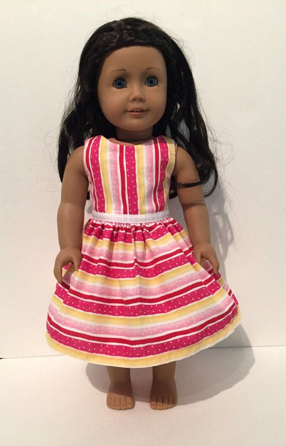 American Girl Doll Clothes Pink and Yellow by LarkspurLaneBoutique