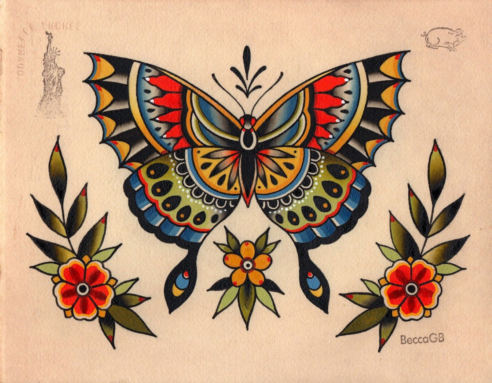 Beccagennebacon google search old school tattoos for Traditional tattoo flash