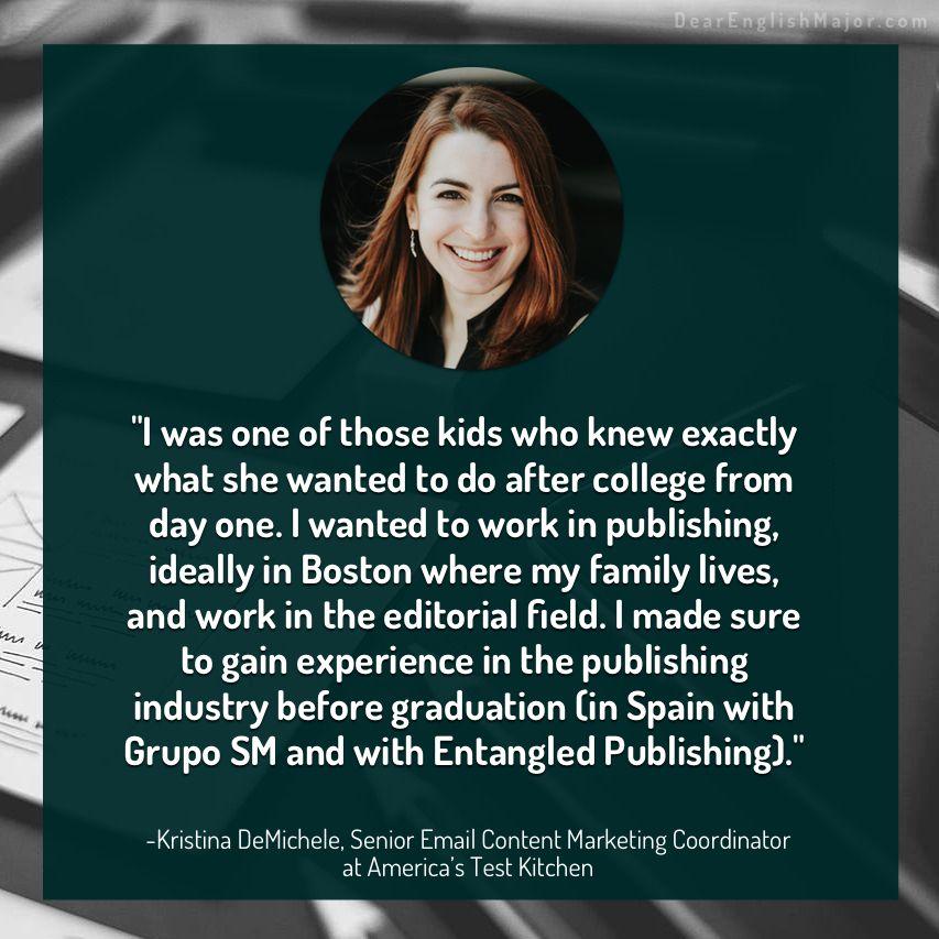 Kristina Demichele Senior Email Content Marketing Coordinator Dear English Major University Of Dayton English Major Emerson College