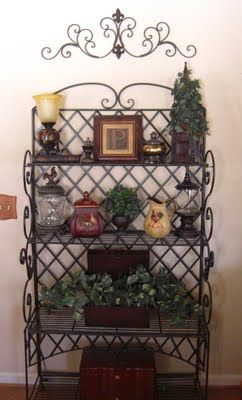 Bakers Rack With Images Bakers Rack Bakers Rack Decorating Tuscan Decorating