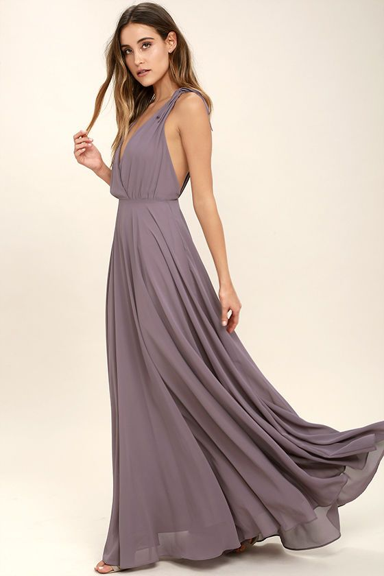 1335330ea3 Every twirl you take in the Dance the Night Away Dusty Purple Backless Maxi  Dress will be absolutely magical! Woven poly forms wide straps, ...