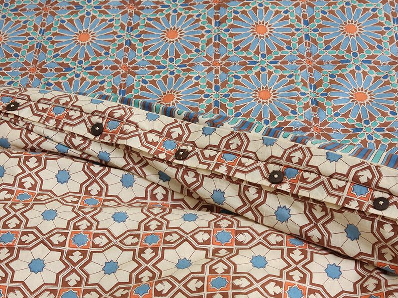 Moroccan Tile Print Queen Duvet Cover Blue