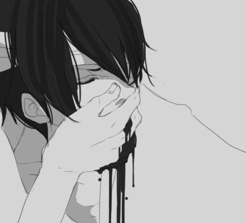Nosebleed Because Of His Pervy Mind That S Definitely Not His Hand Covering Up His Nose Abused Maybe Anime Monochrome Anime Crying Anime Boy Crying