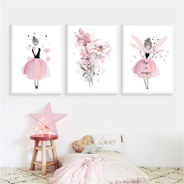 Watercolor Pink Princess Canvas Paintings Flowers Wall Art Poster Nordic Pictures For Girls Roo Nursery Decor Girl Bedroom Modern