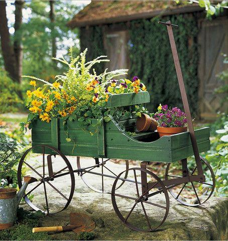 front yard backyard amish wagon decorative outdoor garden decor decorations ideas planters lawn - Outdoor Garden Decor