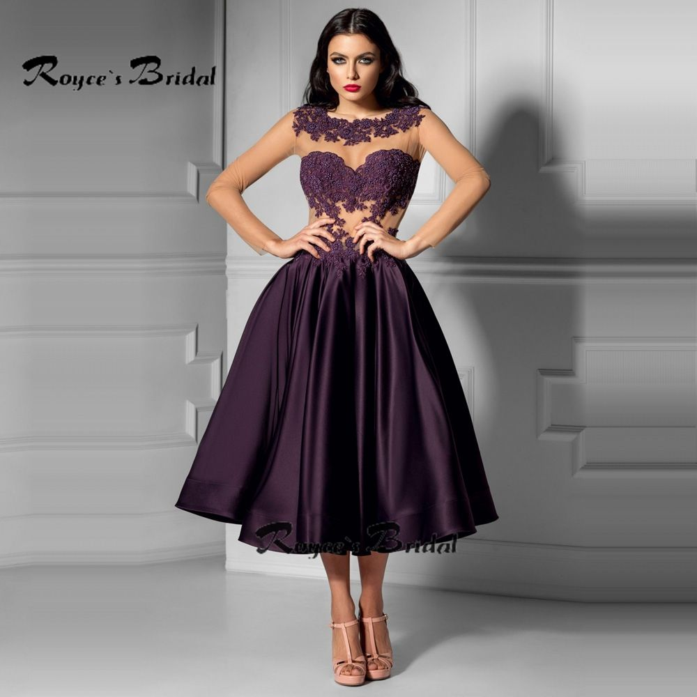 Sexy Illusion Bodice Tea-length Cocktail Dress Long Sleeve Purple ...