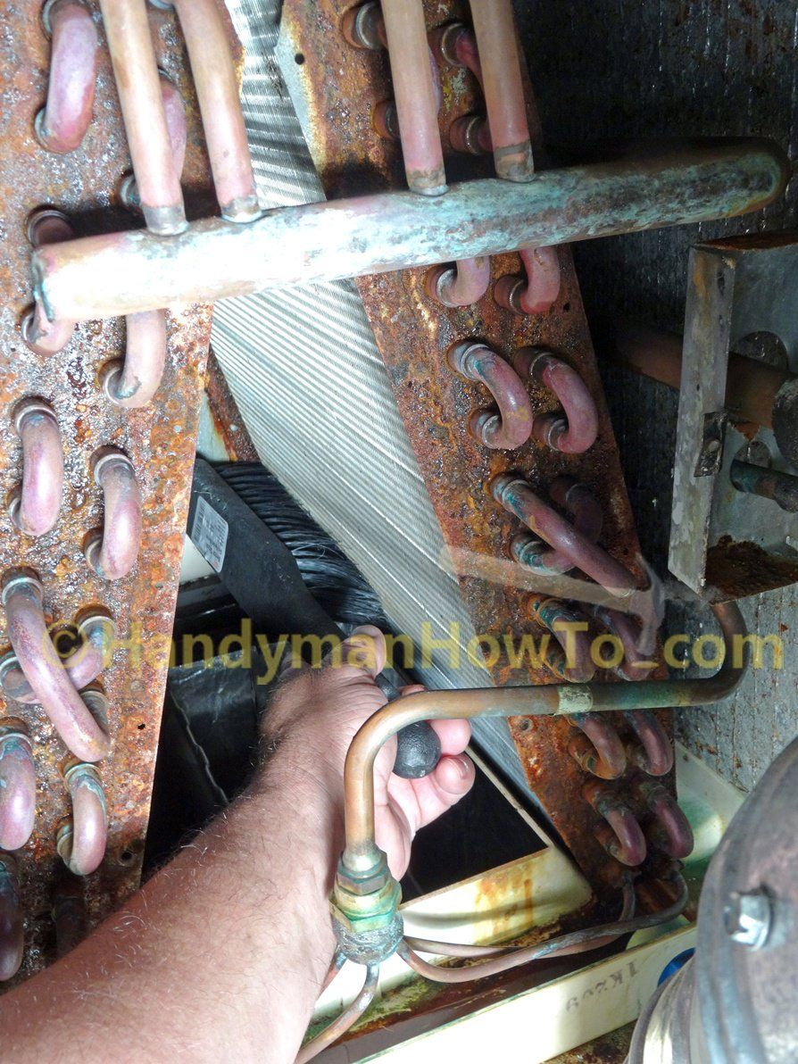 AC Evaporator Coil Cleaning with Pump Sprayer and Brush